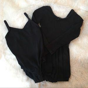 🩰Girls Black Dance Leotards Size XS & 4/5